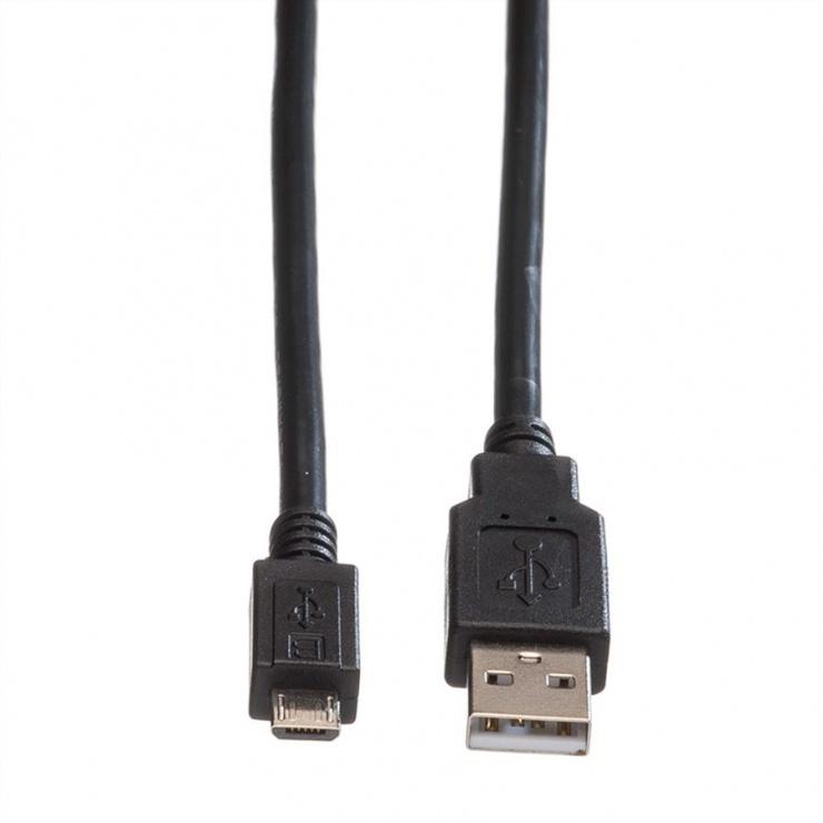 Imagine Cablu USB 2.0 la micro USB-B T-T 3m, Roline 11.02.8755