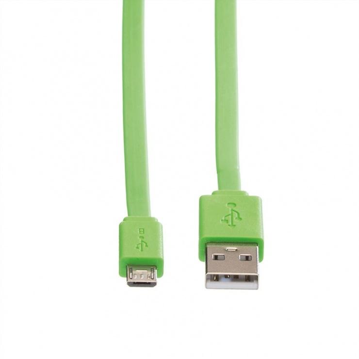 Imagine Cablu micro USB la USB 2.0 T-T 1m Flat Verde, Roline 11.02.8763-1