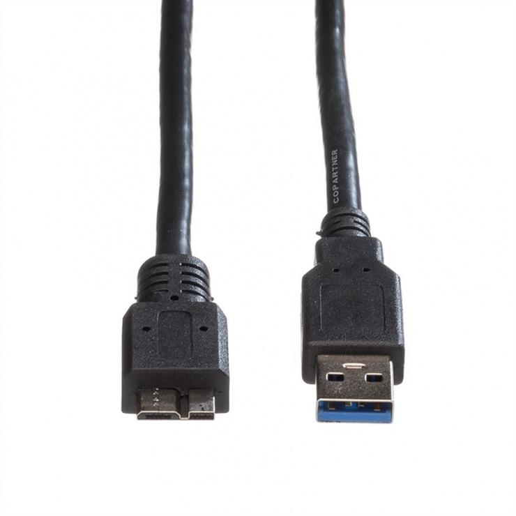 Imagine Cablu USB 3.0 la micro USB 3.0 0 T-T 0.15m Negru, Roline 11.02.8876-1