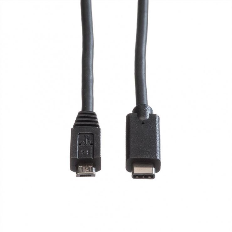Imagine Cablu micro USB-B 2.0 la USB-C T-T negru 2m, Roline 11.02.9021