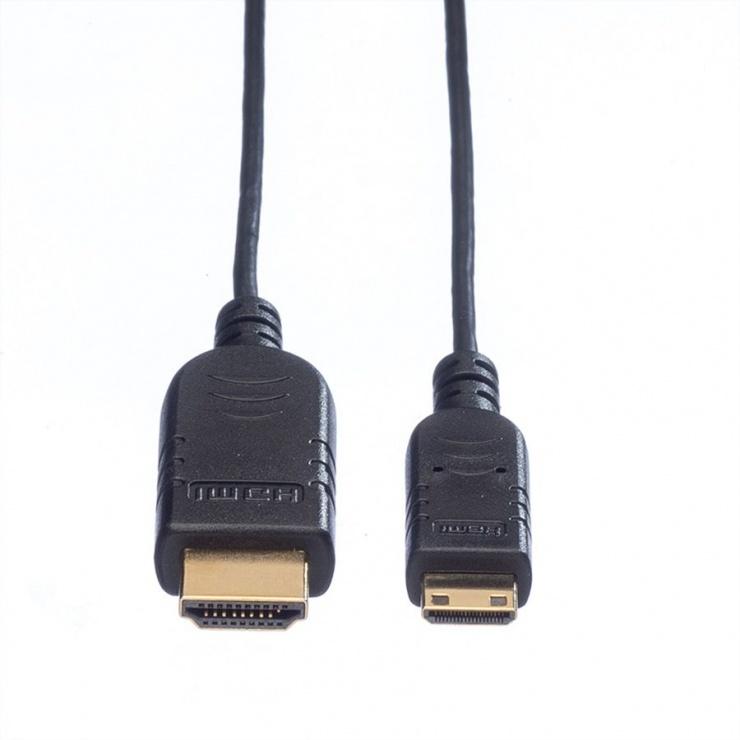 Imagine Cablu Slim HDMI la mini HDMI-C v1.4 1.2m, Roline 11.04.5630-1