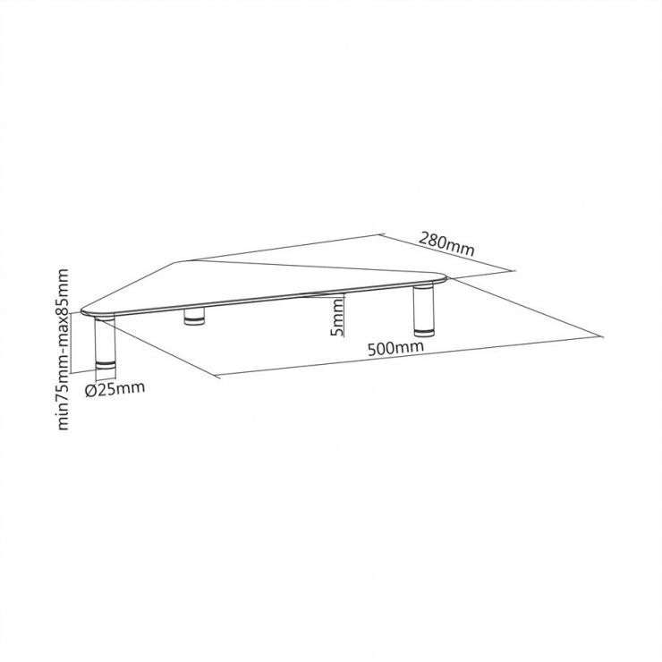 Imagine Stand monitor LCD geam securizat triunghi cu picioare ajustabile, Roline 17.02.3377