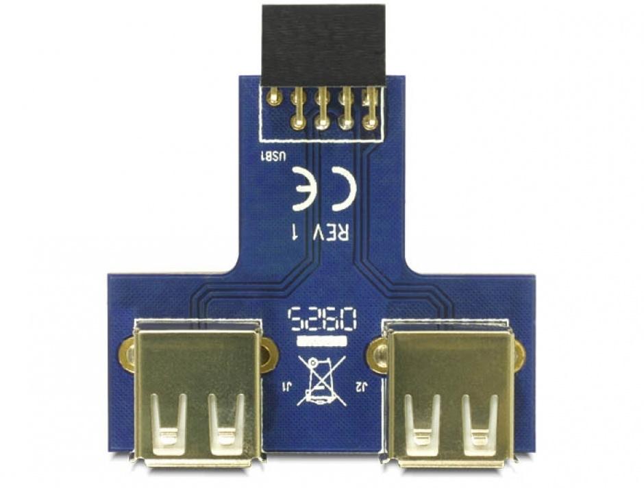 Imagine Adaptor pin header la 2 x USB 2.0 orientare sus, Delock 41824-2