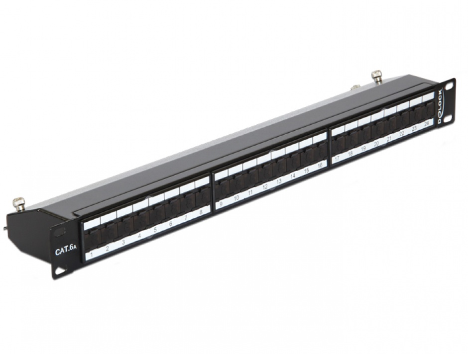 "Imagine Patch Panel 19"" ecranat 24 Porturi Cat.6A Negru, Delock 43320"