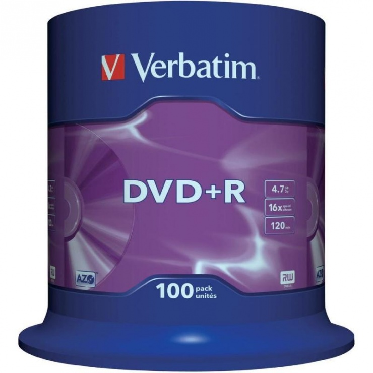 Imagine DVD+R Verbatin Matt Silver SL 16X 4.7GB 100buc