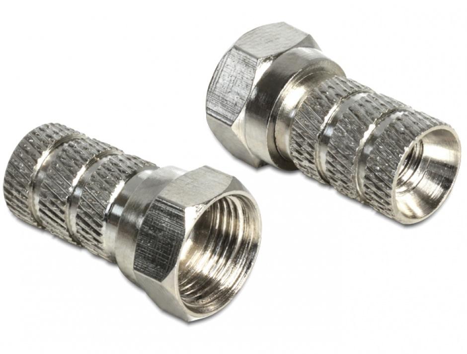 Imagine Adaptor F plug pentru cablu cu diametru 5.0 - 5.2 mm, Delock 65615