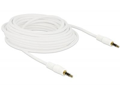Imagine Cablu Stereo Jack 3.5 mm 4 pini 20m T-T Alb, Delock 84733-1