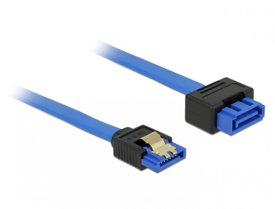 Imagine Cablu prelungitor SATA III 6 Gb/s T-M bleu latchtype 100cm, Delock 84975