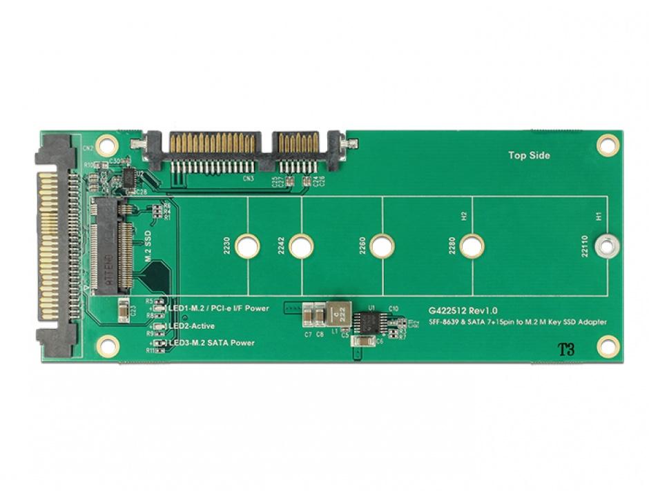 Imagine Convertor U.2 SFF-8639 NVMe / SATA 22 pini la 1 x M.2 Key M, Delock 62864-2