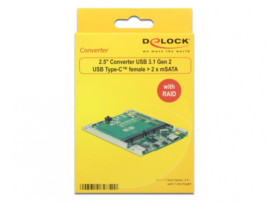 """Imagine Convertor 2.5"""" USB 3.1 Gen 2 USB-C la 2 x mSATA cu RAID 7mm, Delock 62852-2"""