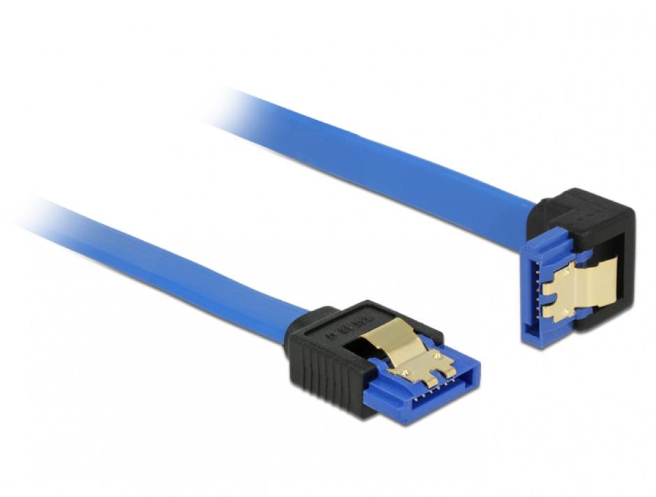 Imagine Cablu SATA III 6 Gb/s unghi drept-jos Bleu 30cm, Delock 85090