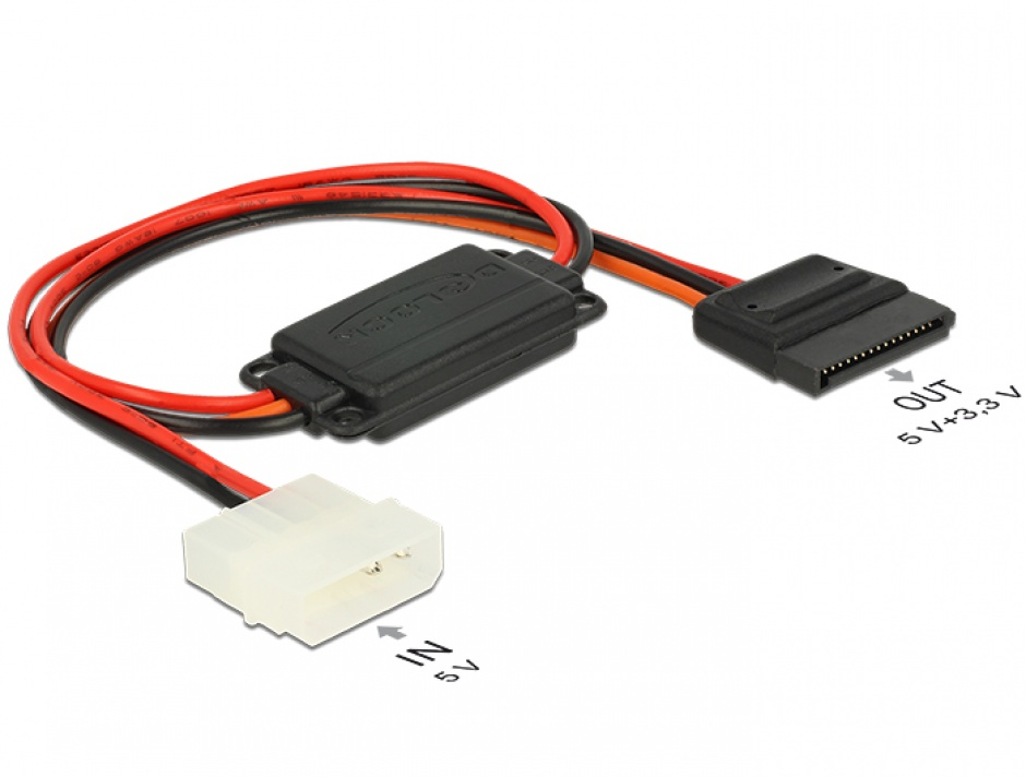 Imagine Cablu de alimentare conversie voltaj Molex 4 pini 5V la SATA 15 pini 3.3V + 5V T-M, Delock 62838