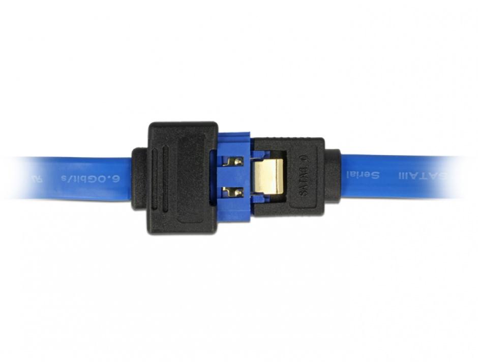 Imagine Cablu prelungitor SATA III 6 Gb/s T-M bleu latchtype 70cm, Delock 84974-1