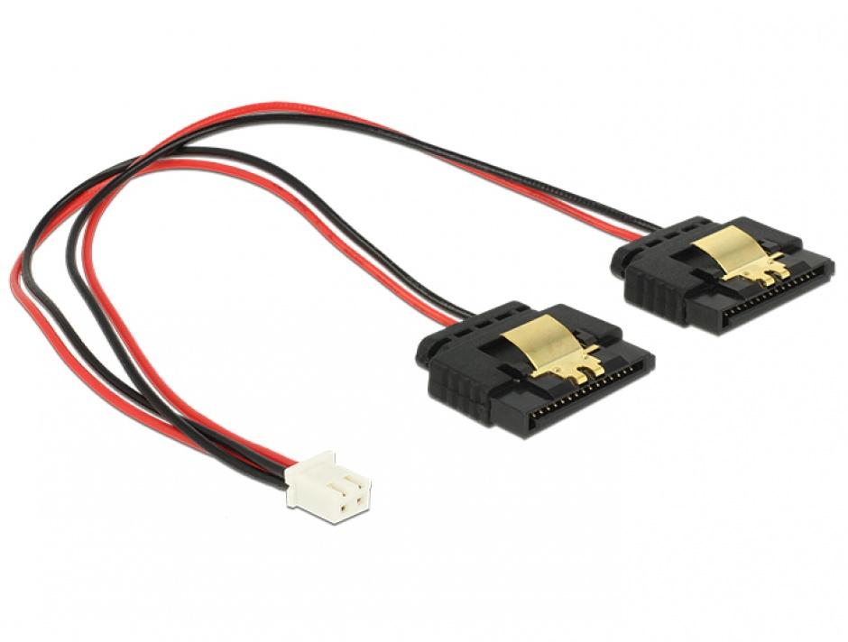 Imagine Cablu de alimentare 2 pini (Banana Pi) la 2 x SATA 15 pini 5V cu clips M-M 20cm, Delock 85249