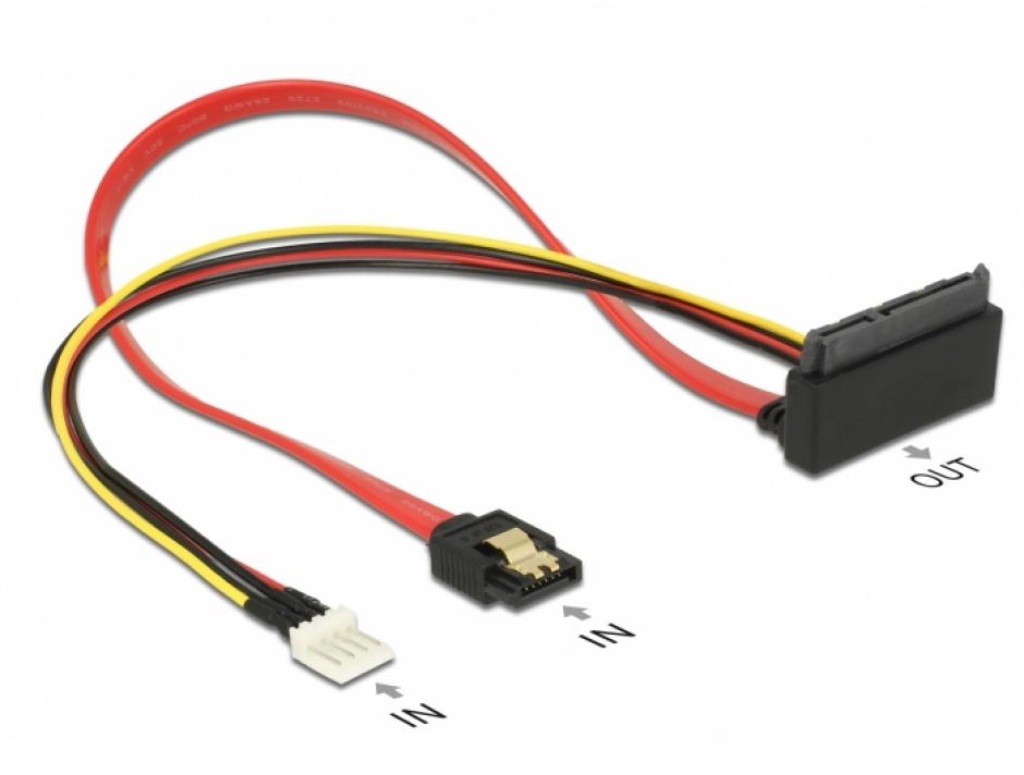 Imagine Cablu SATA III 6 Gb/s + alimentare Floppy 4 pini la SATA 22 pini unghi sus 30cm, Delock 85518 -1