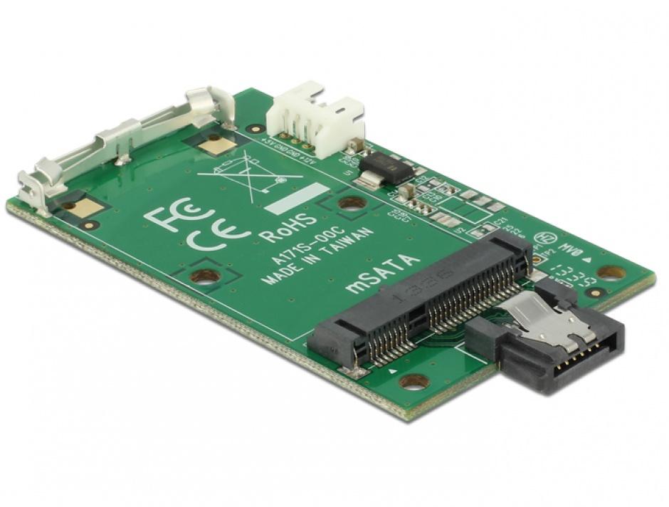 Imagine Convertor SATA 7 pini la mSATA full size, Delock 62511-1