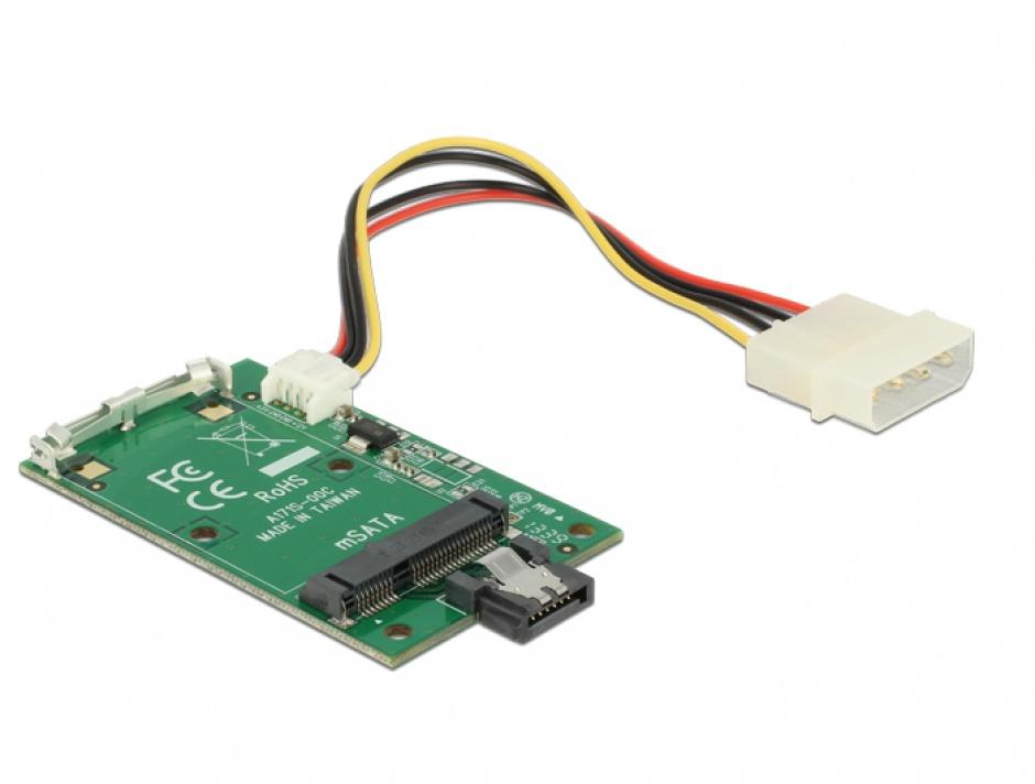 Imagine Convertor SATA 7 pini la mSATA full size, Delock 62511-2