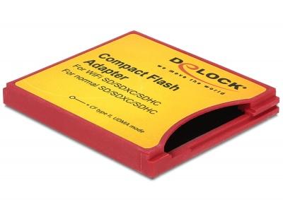 Imagine Adaptor Compact Flash tip II la iSDIO (WiFi SD), SDHC, SDXC, Delock 62542-1