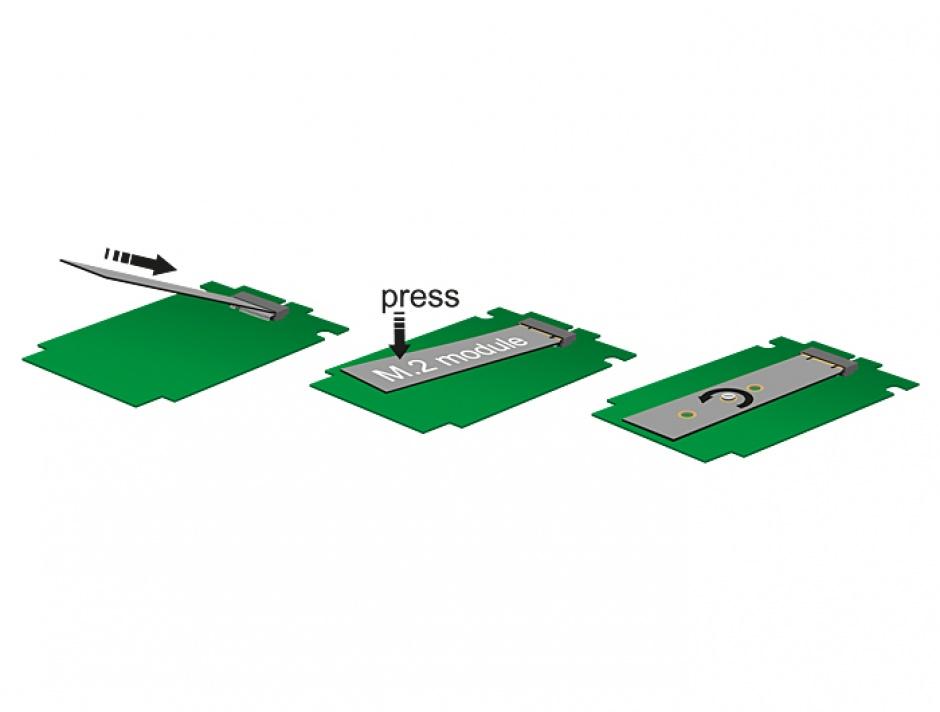 "Imagine Adaptor micro SATA 16 pini 1.8"" la M.2 NGFF, Delock 62636-1"