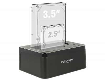Imagine Dual Docking Station SATA HDD/SSD la USB 3.0, Functie de Clona, Delock 62661