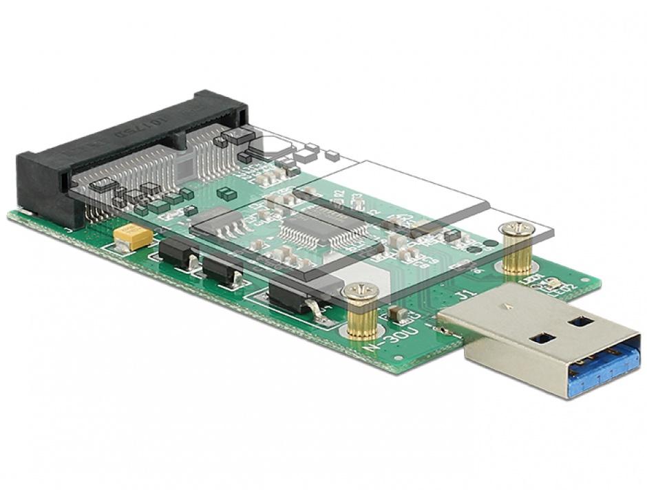Imagine Convertor USB 3.0 la mSATA full size, Delock 62681-1