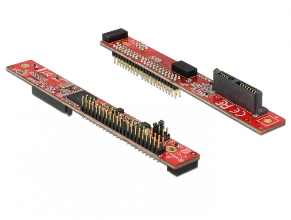 Imagine Adaptor Slim SATA 13 pini la IDE 44 pini T-T, Delock 62687