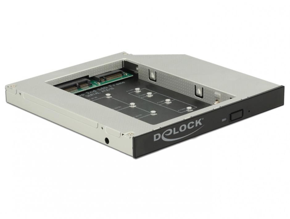 """Imagine Installation frame (caddy) Slim SATA 5.25"""" pentru 1 x M.2 SSD Key B / 1 x mSATA SSD, Delock 62718"""