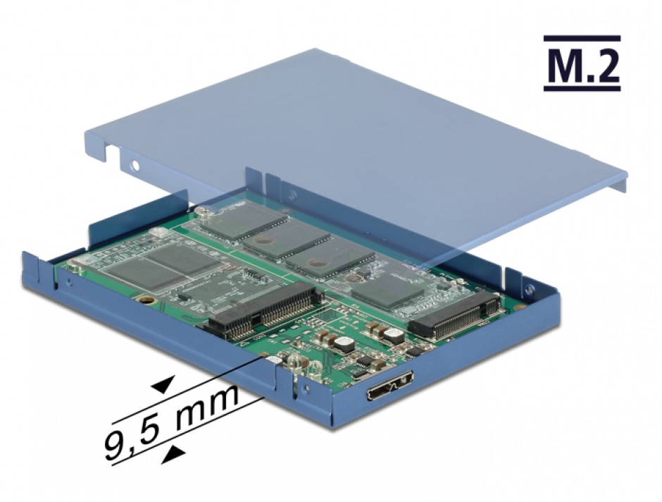 "Imagine Convertor micro-B USB 3.1 la M.2 SSD key B + mSATA cu rack extern 2.5"" 9.5mm, Delock 62787"