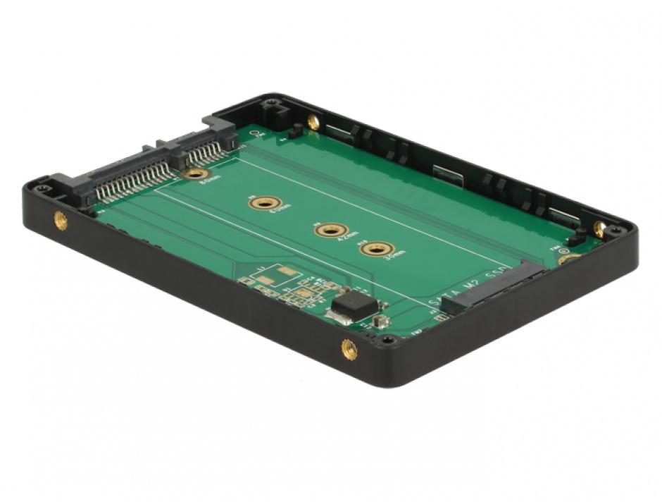 "Imagine Adaptor 2.5"" SATA 22 pini la M.2 cu rack extern, Delock 62792-4"