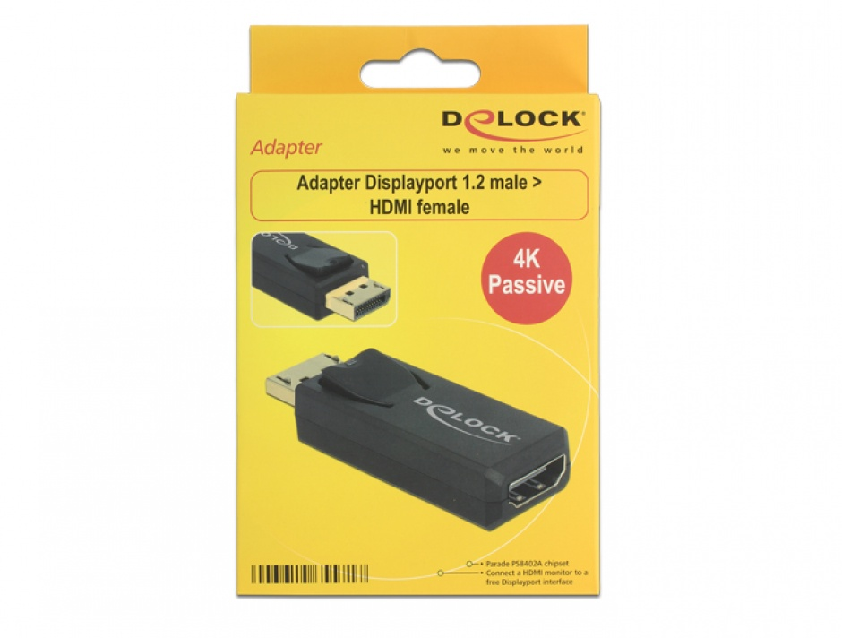 Imagine Adaptor Displayport 1.2 la HDMI T-M 4K Pasiv negru, Delock 65571-1