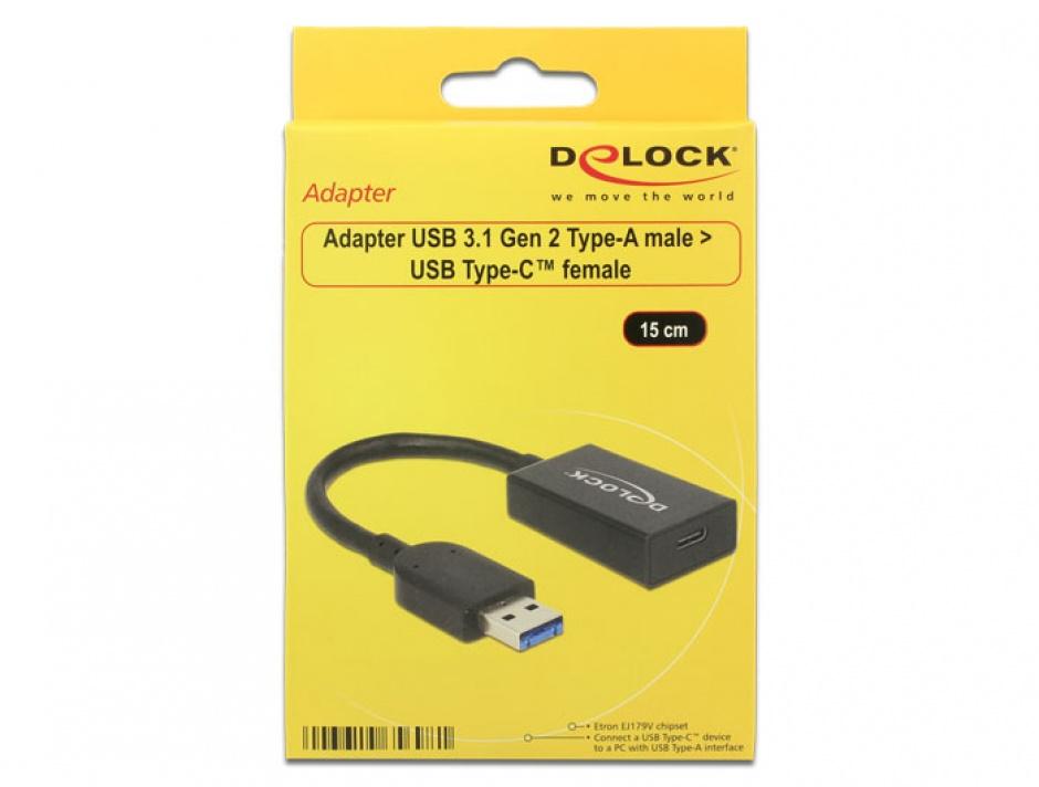 Imagine Adaptor USB 3.1-A (host) la tip C (device) T-M Activ 0.15m Negru, Delock 65698-1