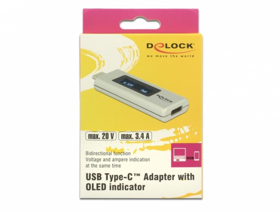 Imagine Adaptor USB-C PD (Power Delivery) cu indicator OLED pentru amperaj si voltaj, Delock 65844-5