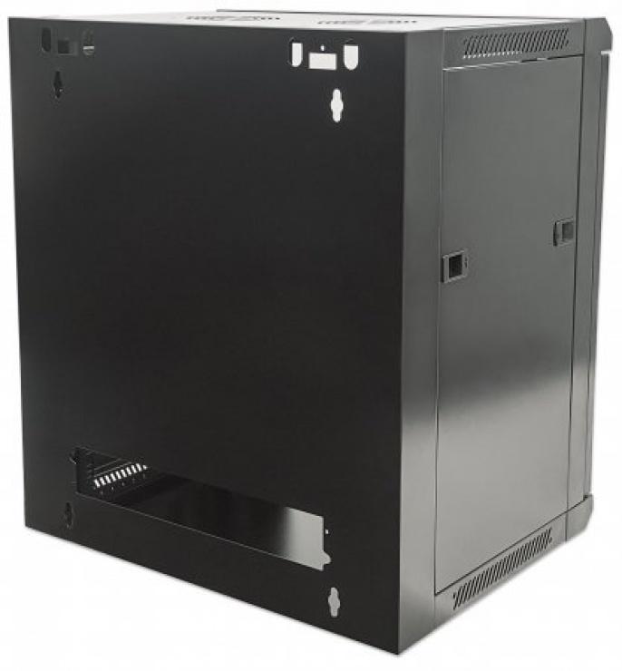 """Imagine Cabinet 19""""  fixare pe perete Flatpack 12U Black, Intellinet 711883"""