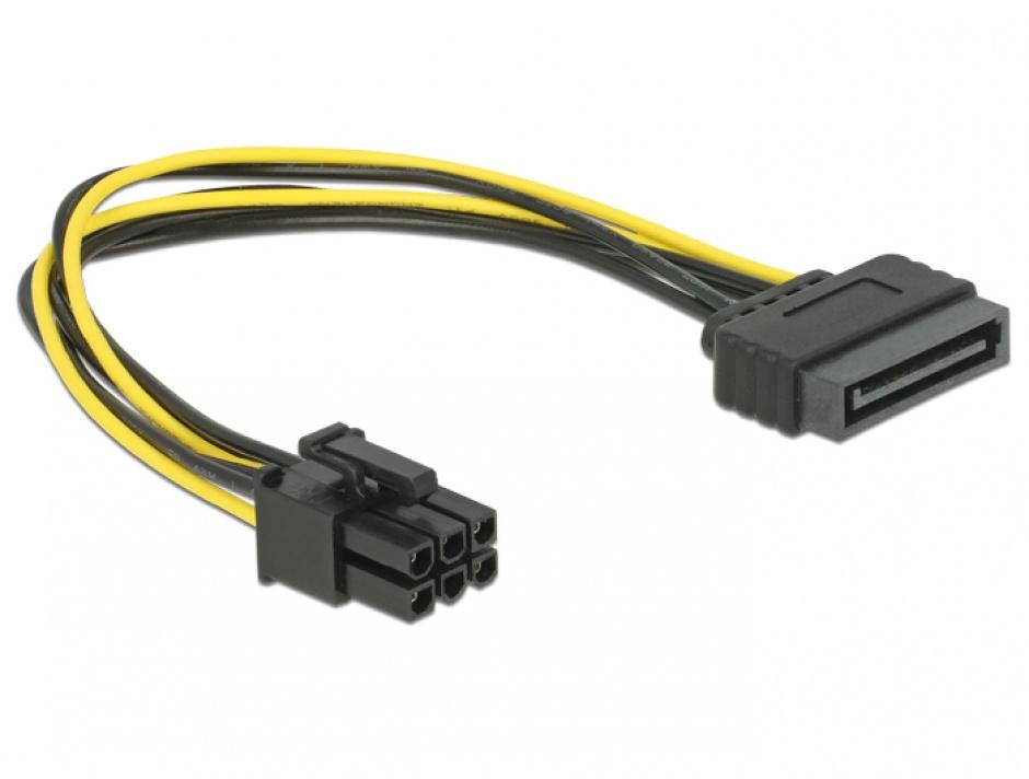 Imagine Cablu alimentare SATA 15 pini la PCI Express 6 pini, Delock 82924