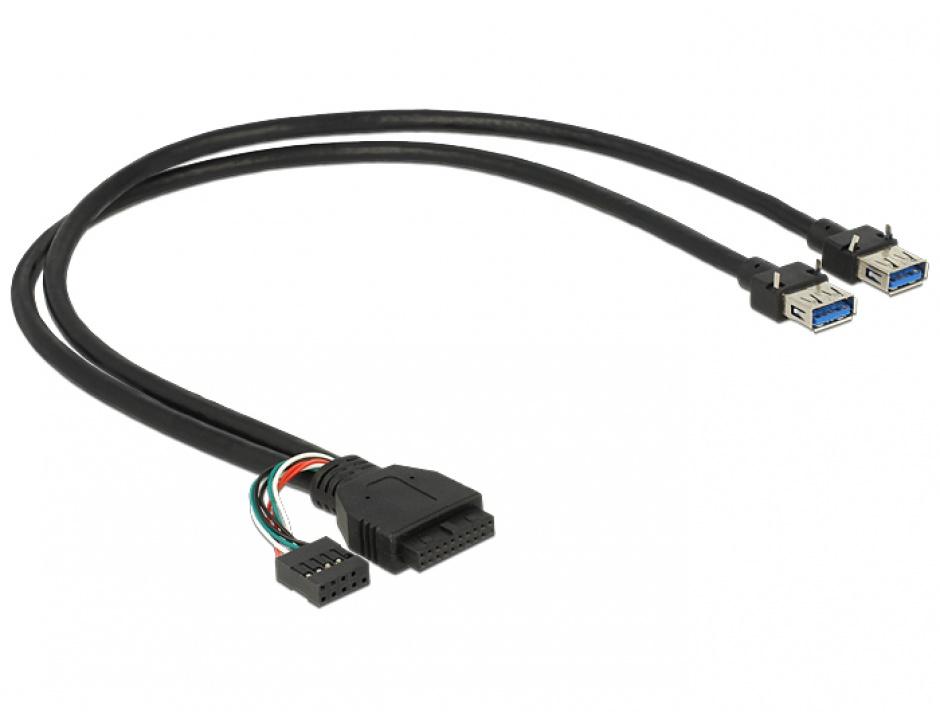 Imagine Cablu pin header USB 3.0 + USB 2.0 pin header la  2 x USB 3.0-A M-M 45cm, Delock 83829