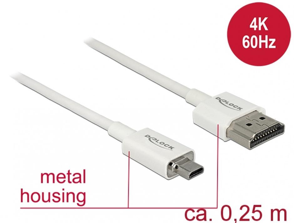 Imagine Cablu HDMI la micro HDMI-D T-T 3D 4K 0.25m Slim Premium Alb, Delock 85147-1