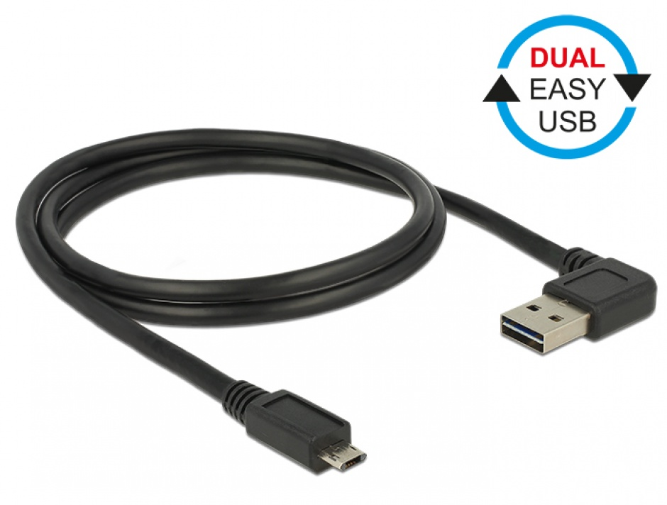 Imagine Cablu EASY-USB 2.0 tip A unghi stanga/dreapta la micro USB-B EASY-USB T-T 2m Negru, Delock 85166 -1