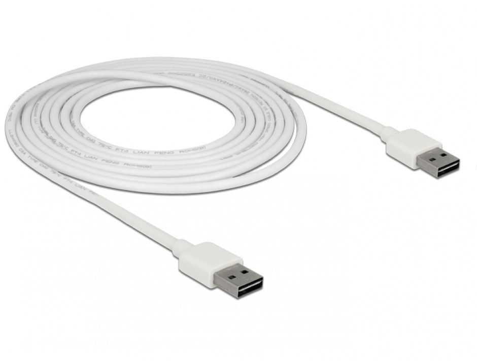 Imagine Cablu EASY-USB 2.0 tip A T-T 3m Alb, Delock 85195