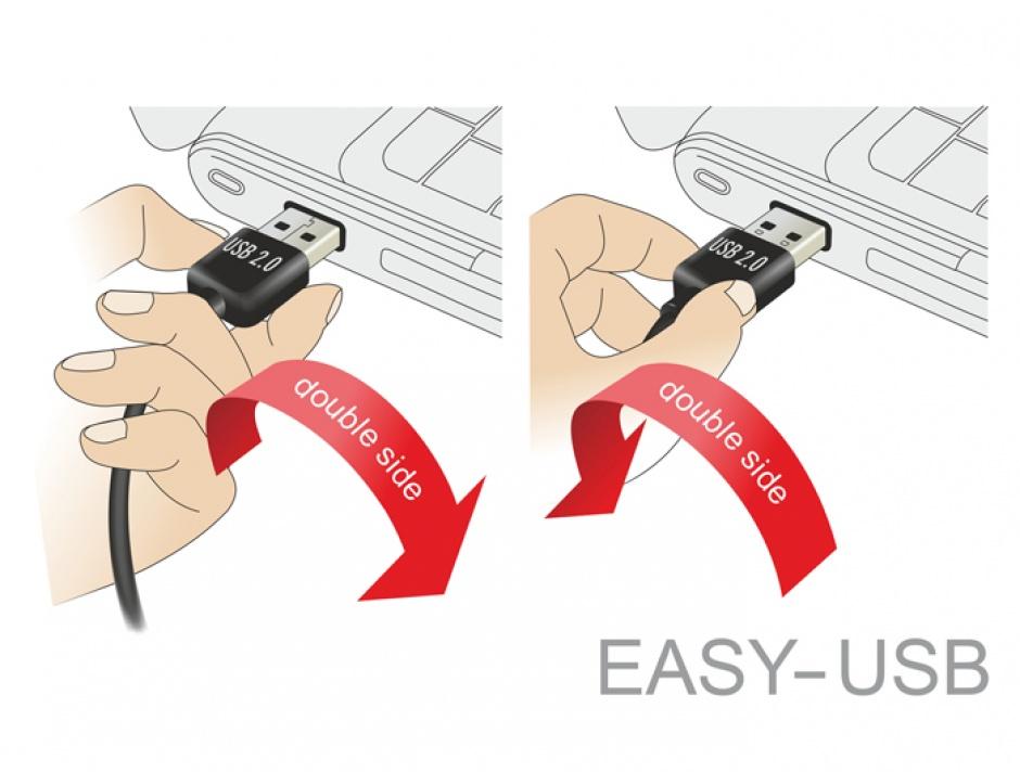Imagine Cablu EASY-USB 2.0 tip A unghi sus/jos la micro USB-B T-T 0.5m Negru, Delock 85203-2
