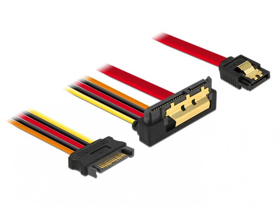 Imagine Cablu de date + alimentare SATA 22 pini 6 Gb/s cu clips la SATA 15 pini + SATA 7 pini unghi jos/drept 30cm, Delock 85229