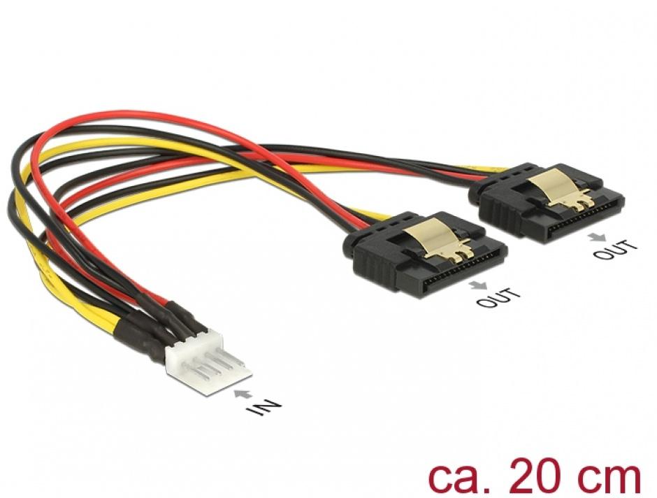 Imagine Cablu de alimentare Floppy 4 pini la 2 x SATA 15 pini T-M 20cm, Delock 85236 -1