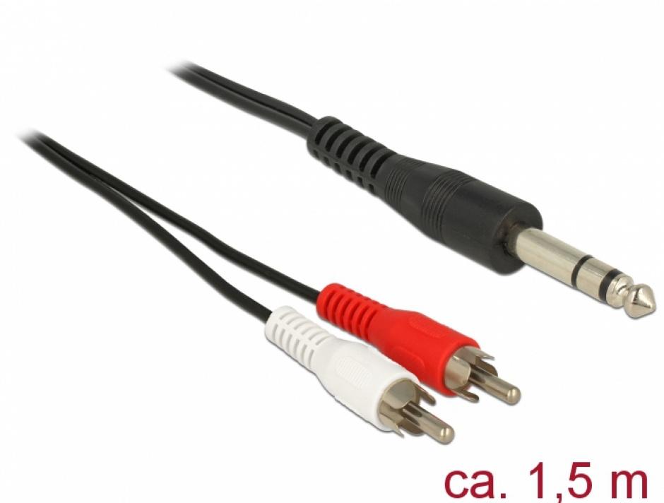 Imagine Cablu audio 6.35 mm stereo la 2 x RCA T-T 1.5m, Delock 85475