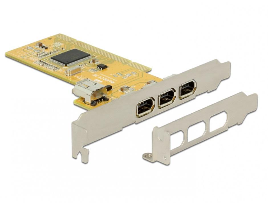 Imagine PCI Card cu 3 x external + 1 x internal FireWire A, Delock 89443