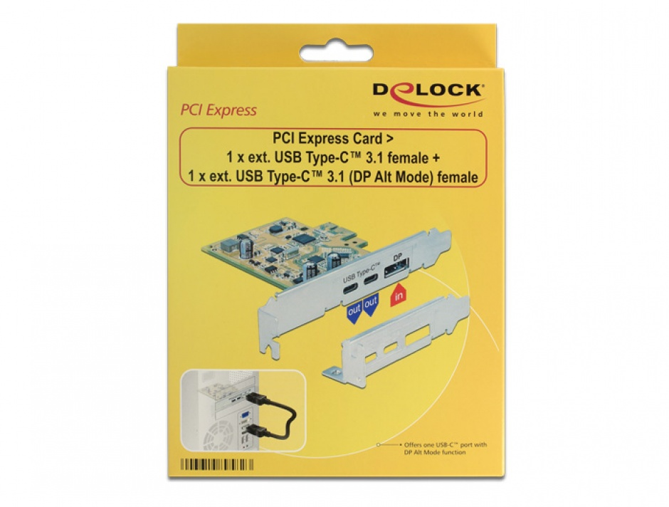 Imagine  PCI Express Card la 1 x USB-C 3.1 + 1 x USB-C 3.1 (DP Alt Mode) externe, Delock 89582
