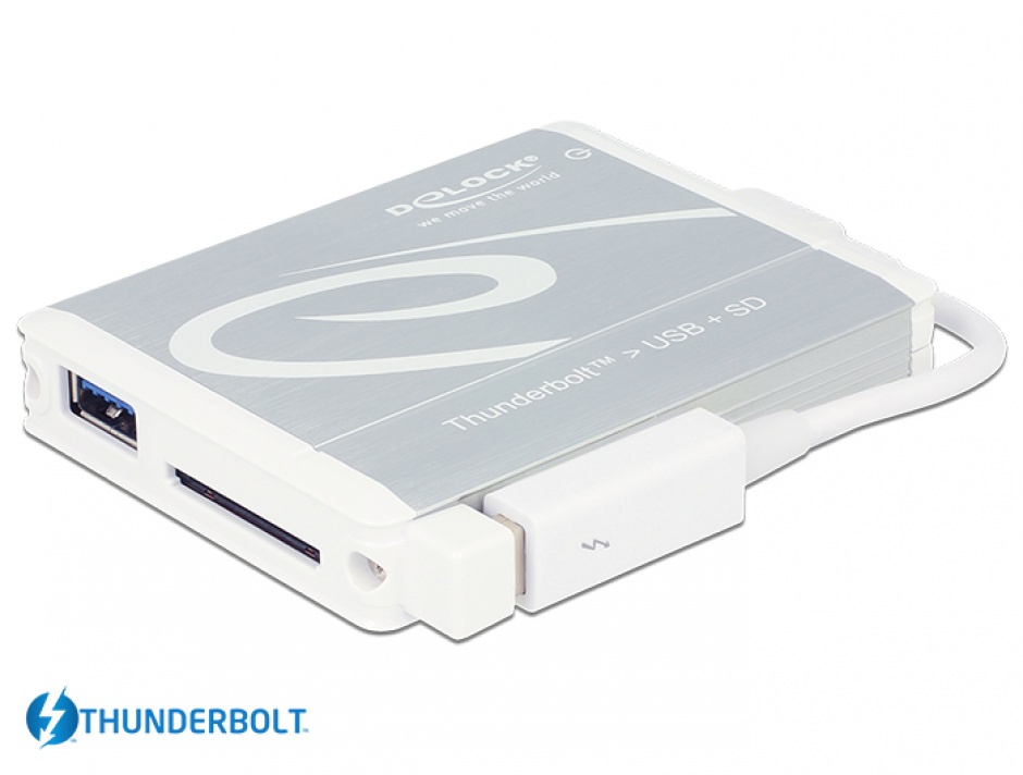 Imagine Adaptor Thunderbolt la USB 3.0 + cititor carduri SD UHS-II, Delock 91723