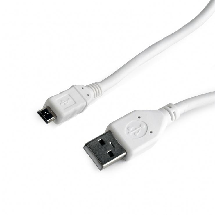 Imagine Cablu USB 2.0 la micro USB-B 0.5m Alb, Gembird CCP-mUSB2-AMBM-W-0.5M