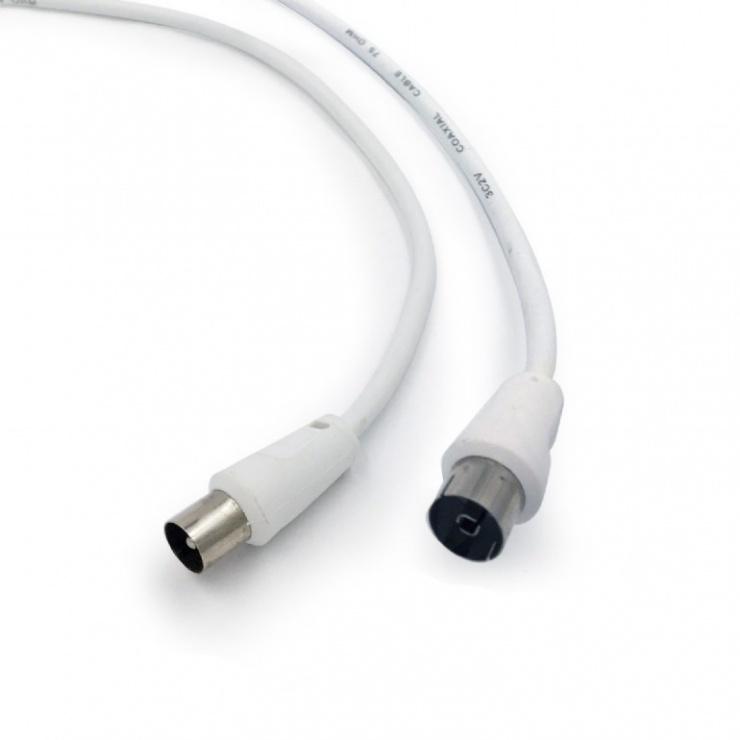 Imagine Cablu prelungitor antena coaxial T-M 5m alb, Gembird CCV-515-W-5M