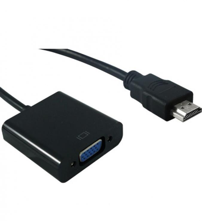 Imagine Adaptor MYCON HDMI la VGA T-M 12cm Negru, CON3200