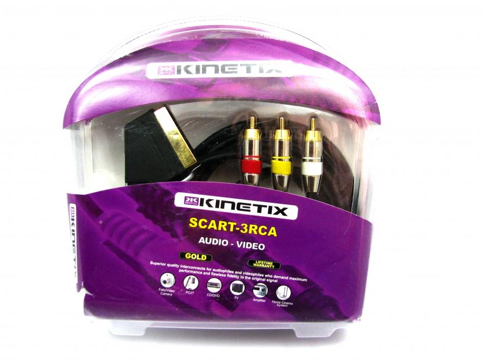 Imagine Cablu SCART la 3 x RCA 2m, T-T KTCBLHE11023A