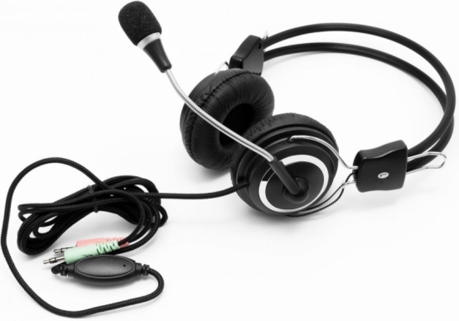 Imagine Casti cu microfon jack 3.5mm negre, Spacer SPC-DJ001